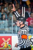 KELOWNA, CANADA - SEPTEMBER 24: Referee Ward Pateman stands at centre ice for his first game as a WHL referee on September 24, 2016 at Prospera Place in Kelowna, British Columbia, Canada.  (Photo by Marissa Baecker/Shoot the Breeze)  *** Local Caption *** Ward Pateman;