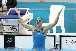 Ruta Meilutyte of Lithuania after winning gold during the women's 100m Breaststoke final  held at the aquatics centre at Olympic Park  in London as part of the London 2012 Olympics on the 30th July 2012.Photo by Ron Gaunt/SPORTZPICS