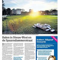 Tekst en beeld zijn auteursrechtelijk beschermd en het is dan ook verboden zonder toestemming van auteur, fotograaf en/of uitgever iets hiervan te publiceren <br /> <br /> Parool 8 november 2013: kale kavels in Amsterdam Nieuw-West
