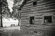 Log cabin at the Ehrman Mansion, Sugar Pine Point State Park, Lake Tahoe, California
