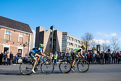 Attacks in the early kilometres: Valentina Scandolara (Cylance Pro Cycling) and Lauren Hall (Tibco SVB) - Women's Ronde van Vlaanderen 2016. A 141km road race starting and finishing in Oudenaarde, Belgium on April 3rd 2016.