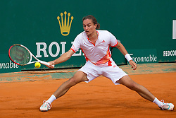 18.04.2012 Country Club, Monte Carlo, MON, ATP World Tour, Rolex Masters, 2. Runde, im Bild Alexandr Dolgopolov (UKR) in action during the second round match between Bernard Tomic (AUS) and Alexandr Dolgopolov (UKR) // at the Rolex Masters tennis tournament second Round of ATP World Tour at Country Club, Monte Carlo, Monaco on 2012/04/17. EXPA Pictures © 2012, PhotoCredit: EXPA/ Mitchell Gunn