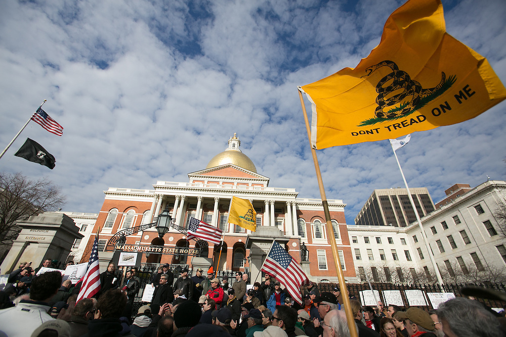 Boston, MA 01/19/2013.Gun rights supporters gather on the steps of the Massachusetts State House on Saturday as part of a coordinated nationwide movement against proposed gun control legislation..Alex Jones / www.alexjonesphoto.com