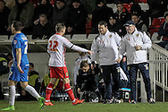 Darren Sarll (Caretaker) (Stevenage) talks to Charlie Lee (Stevenage) during the Sky Bet League 2 match between Hartlepool United and Stevenage at Victoria Park, Hartlepool, England on 9 February 2016. Photo by Mark P Doherty.