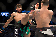 DALLAS, TX - MAY 13:  Yair Rodriguez throws a kick against Frankie Edgar in their featherweight fight during the UFC 211 event at the American Airlines Center on May 13, 2017 in Dallas, Texas. (Photo by Cooper Neill/Zuffa LLC/Zuffa LLC via Getty Images) *** Local Caption *** Yair Rodriguez