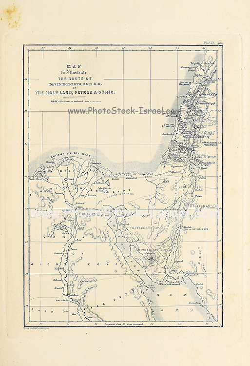 A map of David Roberts' travels from Egypt through Sinai to Petra and the Holy land from The Holy Land : Syria, Idumea, Arabia, Egypt & Nubia by Roberts, David, (1796-1864) Engraved by Louis Haghe. Volume 3. Book Published in 1855 by D. Appleton & Co., 346 & 348 Broadway in New York.