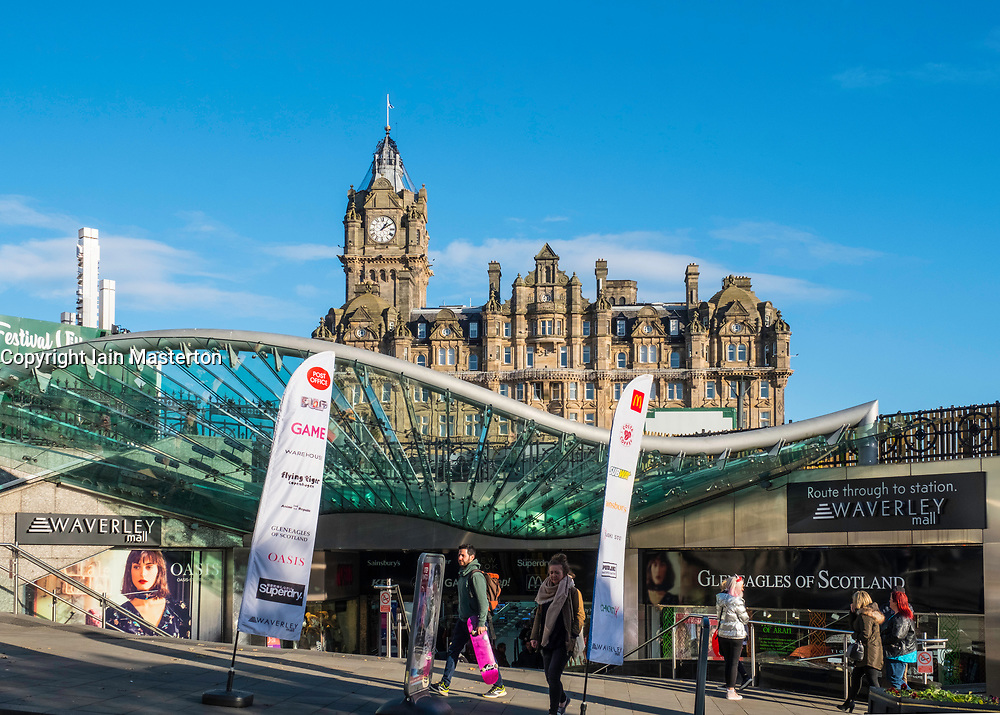 View of modern Waverley Mall off Princes Street in Edinburgh, Scotland, United Kingdom.