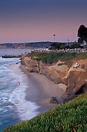 Evening lights over the cliffs of La Jolla Cove+from Scripps Park, La Jolla, San Diego County, CALIFORNIA