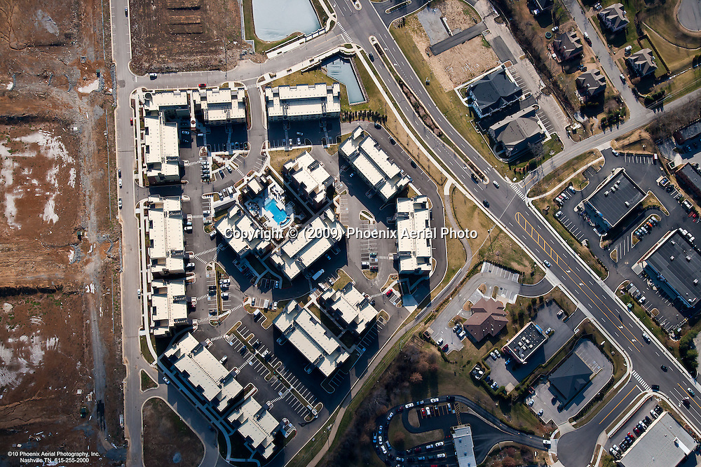 Vertical aerial view of Dwell at McEwen apartments located at 100 Reliance Drive in Franklin Tennessee in the CoolSprings area.