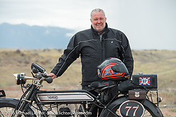Richard Asprey of Texas with his 1915 Norton at the Four Corners (the meeting of Utah, Colorado, New Mexico and Arizona) during the Motorcycle Cannonball Race of the Century. Stage-11 ride from Durango, CO to Page, AZ. USA. Wednesday September 21, 2016. Photography ©2016 Michael Lichter.