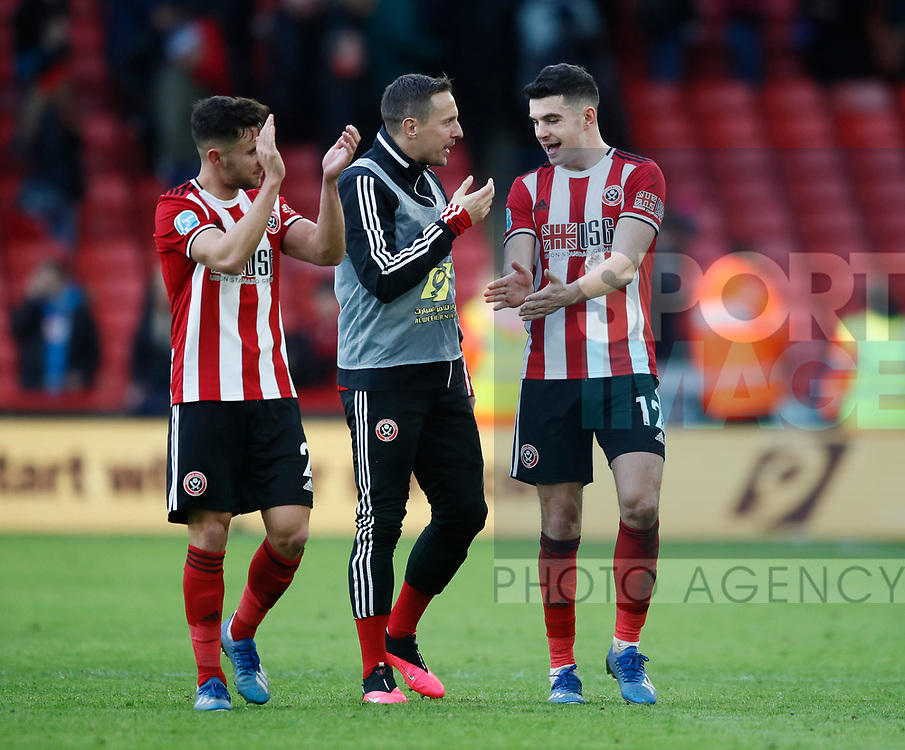 Phil Jagielka (c) celebrates with George Baldock and John Egan of Sheffield Utd during the Premier League match at Bramall Lane, Sheffield. Picture date: 9th February 2020. Picture credit should read: Simon Bellis/Sportimage