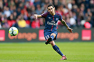 Paris Saint Germain's Argentinian midfielder Angel Di Maria kicks the ball during the French Championship Ligue 1 football match between Paris Saint-Germain and Girondins de Bordeaux on September 30, 2017 at the Parc des Princes stadium in Paris, France - Photo Benjamin Cremel / ProSportsImages / DPPI
