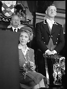 Nancy Reagan .Visits the Royal College Of Surgeons..St Stephens Green,.1984..04.06.1984.06.04.1984.4th June 1984..Nancy Reagan visited the Royal College of Surgeons where she unveilled a portrait of her late father.Her father, Dr Loyal Davis was an Honorary Fellow of the college. Mrs Reagan then presented the portrait to the college..Image of Mrs Reagan as she listens to  Professor O'Malley deliver a speech from the podium.