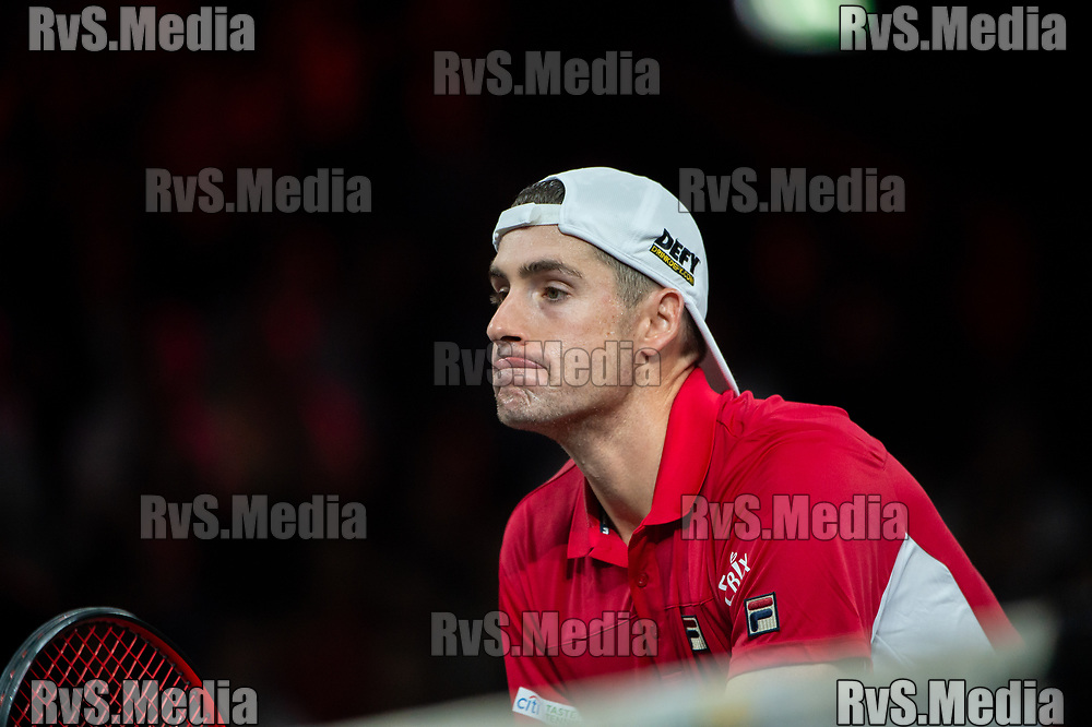 GENEVA, SWITZERLAND - SEPTEMBER 22: John Isner of Team World looks on during Day 3 of the Laver Cup 2019 at Palexpo on September 20, 2019 in Geneva, Switzerland. The Laver Cup will see six players from the rest of the World competing against their counterparts from Europe. Team World is captained by John McEnroe and Team Europe is captained by Bjorn Borg. The tournament runs from September 20-22. (Photo by Robert Hradil/RvS.Media)