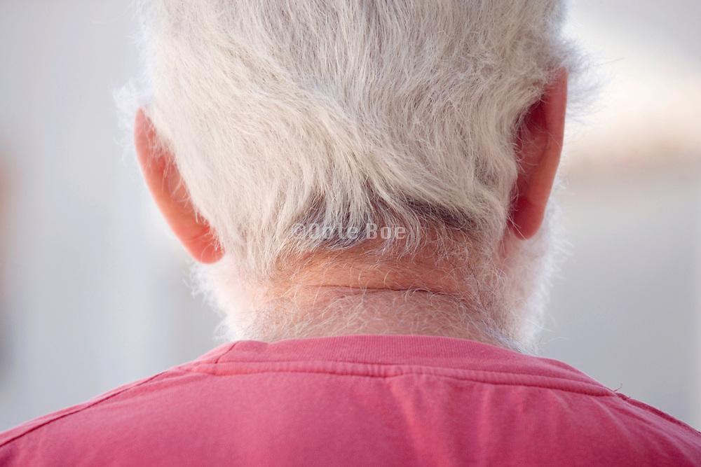 senior man with white gray hair