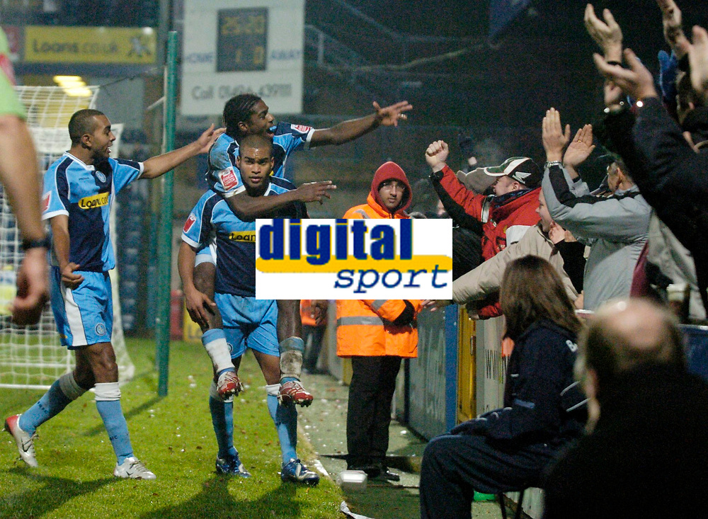Photo: Richard Lane.<br />Wycombe Wanderers v Stockport County. Coca Cola League 2. 23/12/2006. <br />Wycombe's Jermaine Easter celebrates his goal.
