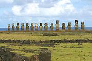Ahu Tongariki, restored 1992, Easter Island (Rapa Nui), Chile<br />