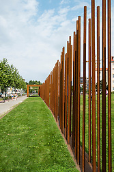 location of former death strip of Berlin Wall on Bernauer Strasse and Ackerstrasse in Berlin Germany