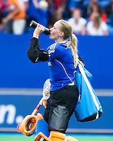BOOM - Joyce Sombroek  tijdens de eerste poule wedstrijd van Oranje tijdens het Europees Kampioenschap hockey   tussen de vrouwen Nederland en Ierland (6-0). ANP KOEN SUYK