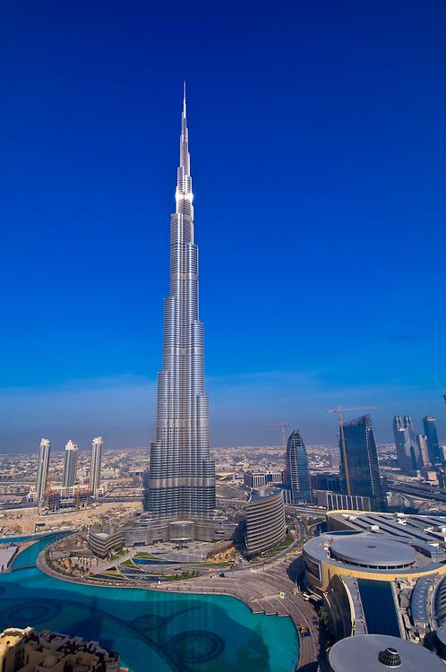 The Burj Khalifa (a.k.a. Burj Dubai), the tallest building in the world in downtown Dubai (Dubai Mall on right), United Arab Emirates
