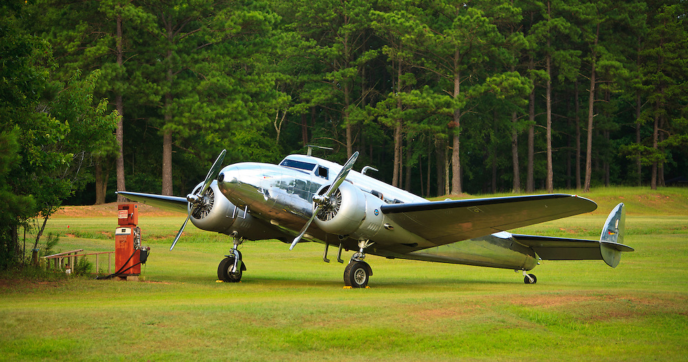 Lockheed 12A Electra Junior...at the gas pump.  Fayetteville, Georgia.
