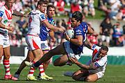 Tohu Harris is tackled. St George Dragons v Vodafone Warriors. NRL Rugby League, Netstrata Jubilee Stadium, Sydney, NSW, Australia, Sunday 18th April 2021 Copyright Photo: David Neilson / www.photosport.nz