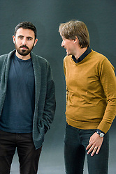 Pictured: Omar Robert Hamilton, a filmmaker and founding member of activist media collective Mosireen in Cairo and Aleš Šteger ,  a Slovene poet, writer, editor and literary critic. Aleš belongs to a generation of writers that started to publish right after the fall of Yugoslavia<br /> Book fanatics headed to Charlotte Square in Edinburgh which is the hub of the international Book Festival to meet the authors and also to meet up with fellow fans of the printed word.<br /> <br /> <br /> Ger Harley | EEm 18 August 2017