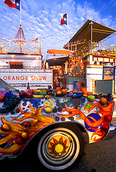Stock photo of a decorated Orange Show car at the Orange Show in downtown Houston Texas