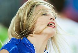 08-09-2015 CRO: FIBA Europe Eurobasket 2015 Slovenie - Nederland, Zagreb<br /> De Nederlandse basketballers hebben de kans om doorgang naar de knockoutfase op het EK basketbal te bereiken laten liggen. In een spannende wedstrijd werd nipt verloren van Slovenië: 81-74 / Cheerldears Escape perform. Photo by Vid Ponikvar / RHF
