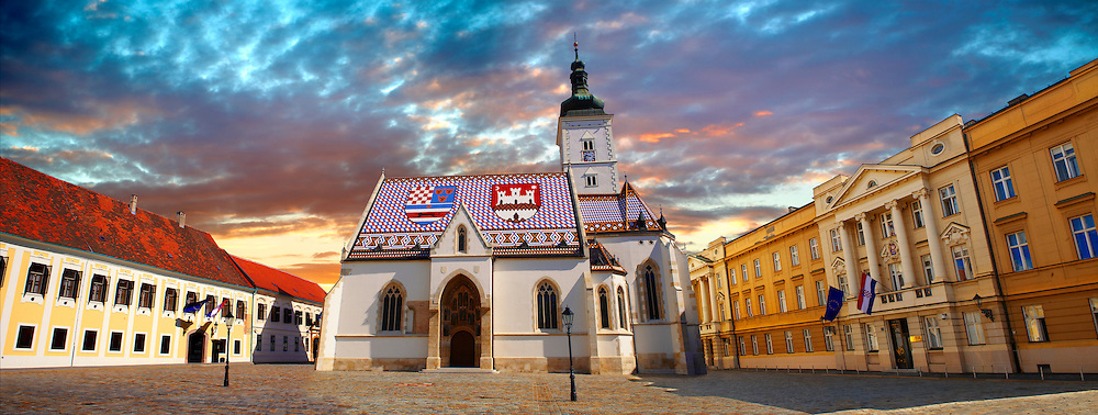 Late Gothic church of St. Mark's Church (Crkva sv. Marka) , with Croatian Parliamnet [ right ]Zagreb, Croatia .<br /> <br /> Visit our MEDIEVAL PHOTO COLLECTIONS for more   photos  to download or buy as prints https://funkystock.photoshelter.com/gallery-collection/Medieval-Middle-Ages-Historic-Places-Arcaeological-Sites-Pictures-Images-of/C0000B5ZA54_WD0s .<br /> <br /> Visit our CROATIA HISTORIC SITES PHOTO COLLECTIONS for more photos to download or buy as wall art prints https://funkystock.photoshelter.com/gallery-collection/Pictures-Images-of-Croatia-Photos-of-Croatian-Historic-Landmark-Sites/C0000cY_V8uDo_ls