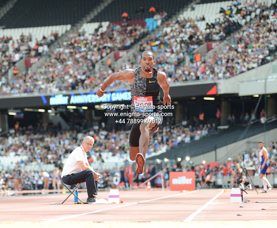 Christian Taylor competes in the men's triple jump during the IAAF Diamond League at the Queen Elizabeth Olympic Park London, England on 20 July 2019.