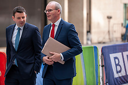 Simon Coveney, Deputy Prime Minister of Ireland, Minister for Foreign Affairs and Trade, responsibility for BREXIT in Irish Government. arrives at the BBC before appearing on the Andrew Marr show as a guest.<br /> <br /> Richard Hancox | EEm 21072019