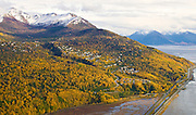 Alaska, Autumn colorful aerial view of south Anchorage, Potters Marsh, and Turnagain in September 2011.