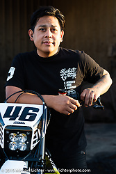 Aaron Guardado at his Suicide Machine shop as they were doing final prep on their Born Free Harley-Davidson custom and race bikes. Long Beach, CA, USA. Wednesday, June 19, 2019. Photography ©2019 Michael Lichter.