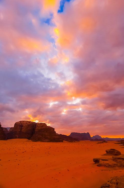 Sunset on the Arabian Desert at Wadi Rum, Jordan.