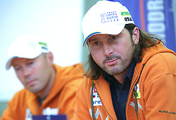 Uros Velepec and Tomas Kos, coach of Slovenian women biathlon team at Press conference after Summer World Championship in rolling in Haute Maurienne Vanoise, France, on September 29, 2008, in SZS in Ljubljana.  (Photo by Vid Ponikvar / Sportal Images)