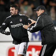 Besiktas's Roland Bernhard Koch (R) and Hugo Almedia (L) during their Turkish Superleague soccer match Ankaragucu between Besiktas at the 19 Mayis stadium in Ankara Turkey on Sunday 08 January 2012. Photo by TURKPIX