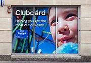 Detail of Tesco Clubcard advertising Newbury, Berkshire, England, UK