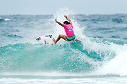 Johanne Defay of France placed third in Heat 1 of Round One at the Roxy Pro Gold Coast, Australia.