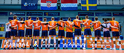 Team Netherlands during the CEV Eurovolley 2021 Qualifiers between Sweden and Netherlands at Topsporthall Omnisport on May 14, 2021 in Apeldoorn, Netherlands