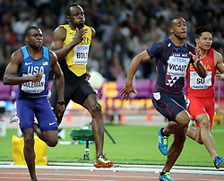 August 5, 2017 - London, England, United Kingdom - Jamaica's USAIN BOLT, 35, and USA's CHRISTIAN COLEMAN , 21, duel for lead in last third of 100 Metres Men Final to end the second day of the IAAF World Championships in London. (Credit Image: ? Scott Mc Kiernan via ZUMA Wire)