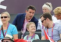 Olympics - London 2012 - Beach Volleyball - BRA v MRI<br /> Lord Sebastien Coe enjoys the women's beach volleyball at Horse Guards Parade, London