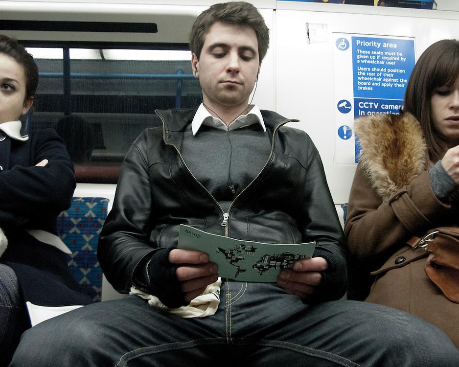 Portrait of man travelling on the London Underground