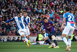 March 30, 2019 - Barcelona, Catalonia, Spain - Leo Messi during the match between FC Barcelona and RCD Espanyol, corresponding to the week 29 of the Liga Santander, played at the Camp Nou Stadium, on 30th March 2019, in Barcelona, Spain. (Credit Image: © Joan Valls/NurPhoto via ZUMA Press)