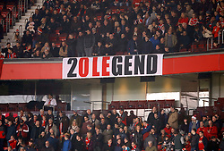 Manchester United fans with a 20 Legend banner in the stands for new interim manager Ole Gunnar Solskjaer during the Premier League match at Old Trafford, Manchester.