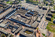 Nederland, Flevoland, Gemeente Dronten, 01-05-2013; Dronten, winkelcentrum met Gemeentehuis en Kerkcentrum Open Hof (met toren).  Winkelhart van Dronten: winkelcentrum SuyderSee. <br /> Shopping mall Suydersee in Dronten, church center and tower (top, r).<br /> <br /> luchtfoto (toeslag op standard tarieven);<br /> aerial photo (additional fee required);<br /> copyright foto/photo Siebe Swart
