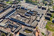 Nederland, Flevoland, Gemeente Dronten, 01-05-2013; Dronten, winkelcentrum met Gemeentehuis en Kerkcentrum Open Hof (met toren).  Winkelhart van Dronten: winkelcentrum SuyderSee. <br /> Shopping mall Suydersee in Dronten, church center and tower (top, r).<br /> <br /> luchtfoto (toeslag op standard tarieven);<br /> aerial photo (additional fee required);<br /> copyright foto/photo Siebe Swart