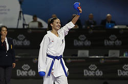 November 10, 2018 - Madrid, Madrid, Spain - Azerbaijani karateka Irina Zaretska seen celebrating after defeating the Russian karateka Victoria Isaeva during the Kumite female -68kg final competition of the 24th Karate World Championships at the WiZink centre in Madrid (Credit Image: © Manu Reino/SOPA Images via ZUMA Wire)