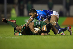 March 22, 2019 - Ireland - Jarrad Butler of Connacht tackled by Ioane Monty of Benetton during the Guinness PRO14 match between Connacht Rugby and Benetton Rugby at the Sportsground in Galway, Ireland on March 22, 2019  (Credit Image: © Andrew Surma/NurPhoto via ZUMA Press)