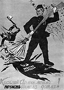 Soviet Russian poster showing Russia standing up to Nazi Germany, Circa 1941